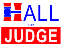 Hall For Judge With Gavel Sign