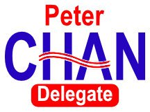 Peter Chan For Delegate Campaign Yard Sign